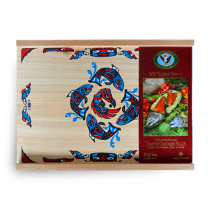 Smoked salmon package with indigenous art displayed on the front.